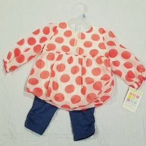 Heathtex Baby Girl Outfit Polka Dot 3-6mths